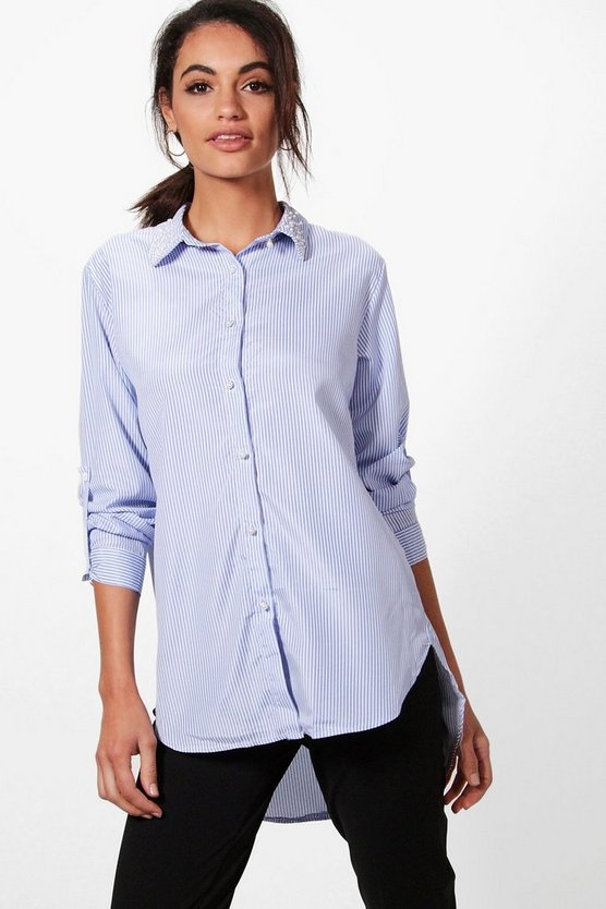 Melissa Pearl Collar Stripe Shirt