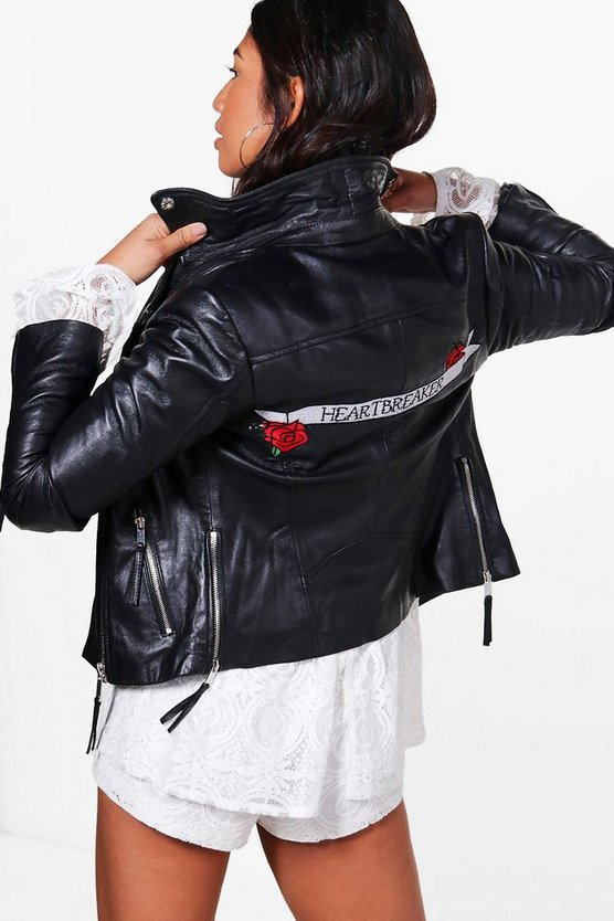 Heather Heartbreaker Embroidered Real Leather Biker