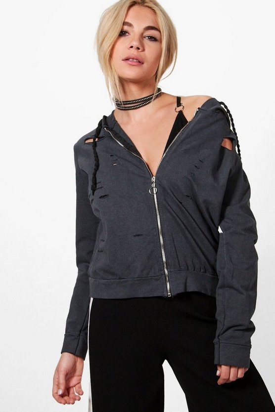 Nadine Distressed Zip Through Hoody