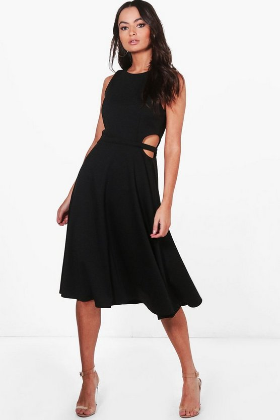 Zoey Sleeveless Cut Out Mixi Skater Dress