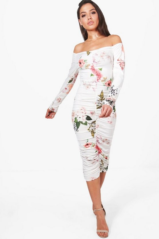 Fiona Floral Off Shoulder Midi Dress