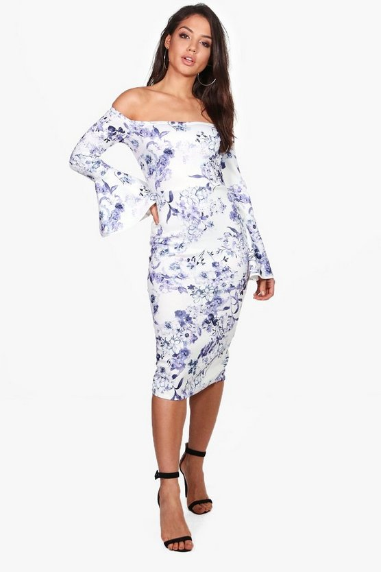 Eva Floral Print Flute Sleeve Midi Dress