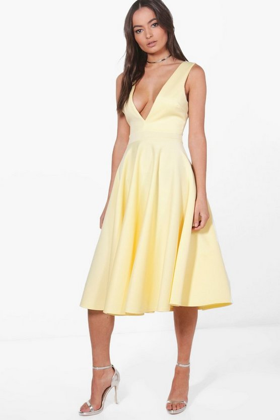 Anita Plunge Neck Scuba Skater Dress