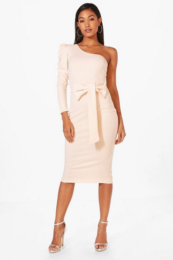 Hollie One Shoulder Bow Waist Midi Dress