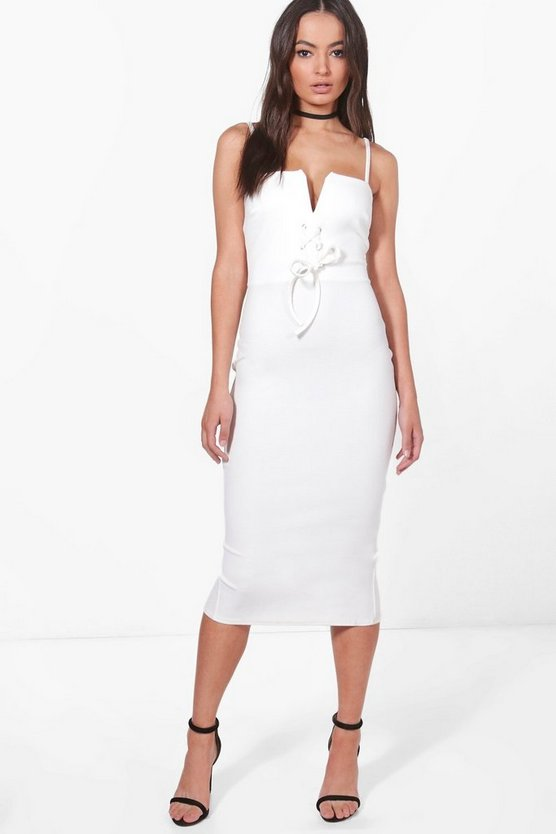Lizzie Corset Waist Strappy Midi Dress