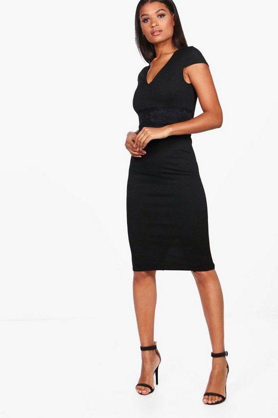 Neva Lace Waist Cap Sleeve Midi Dress