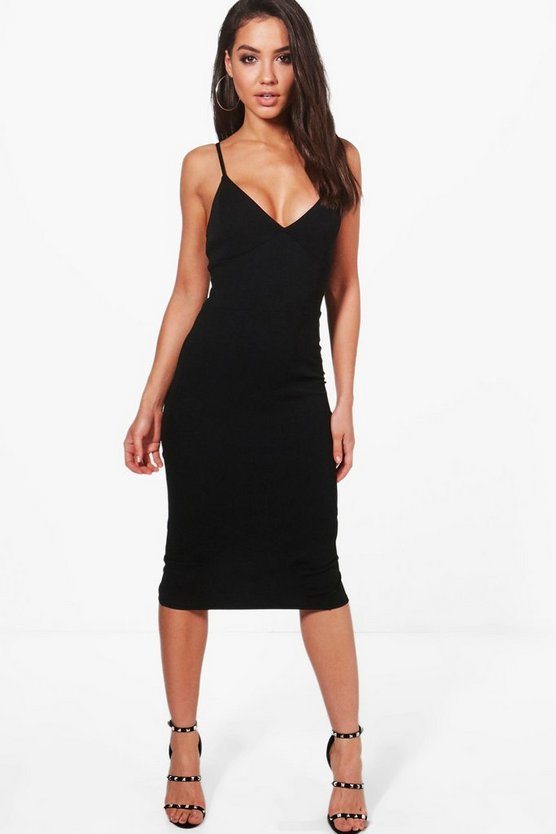 Caroline Crepe Plunge Neck Midi Dress
