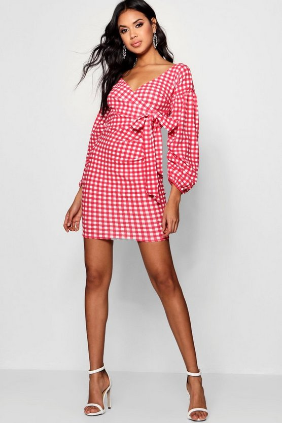 Gingham Ruffle Sleeve Bodycon Dress