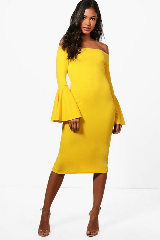 Rosey Flared Sleeve Midi Dress