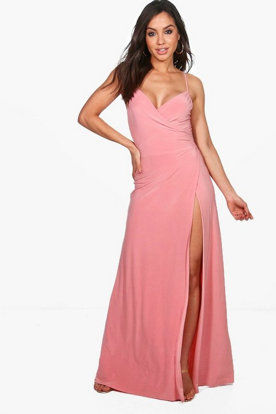 Strappy Slinky Wrap Maxi Dress