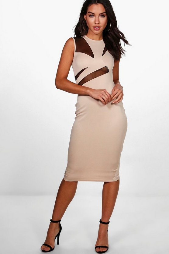 Kelsey Mesh Structured Top Midi Dress