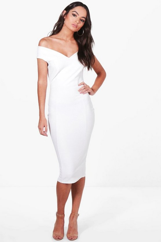 Mimi Textured Off Shoulder Midi Dress
