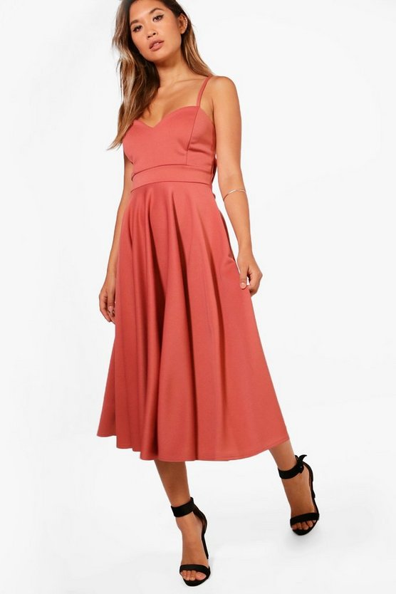 Michelle Scuba Tie Waist  Midi Skater Dress