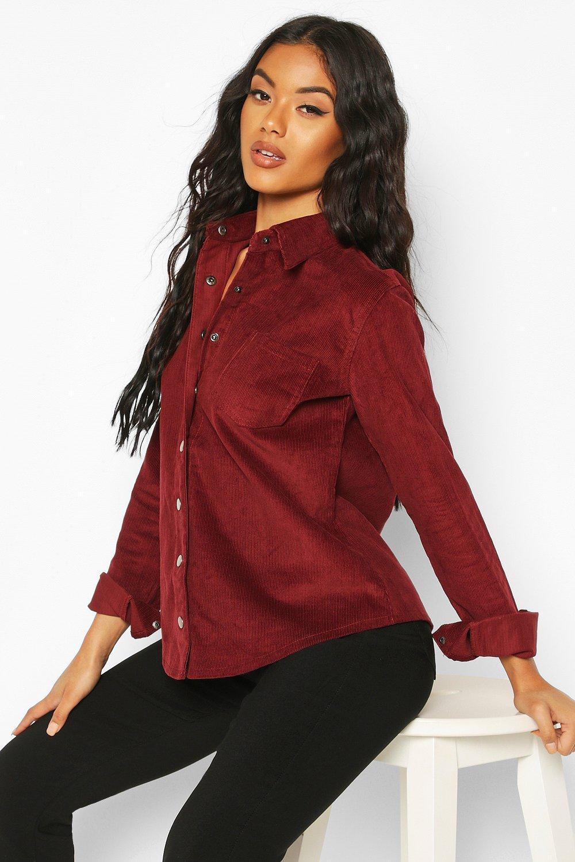Womens Übergroßes Hemd aus Kord - Burgunderrot - 34, Burgunderrot - Boohoo.com