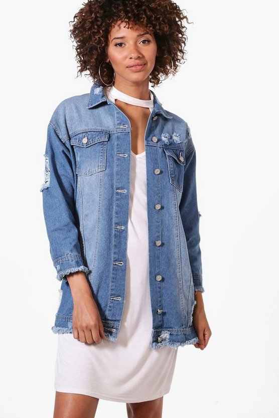 Jillian Fray Hem Longline Denim Jacket