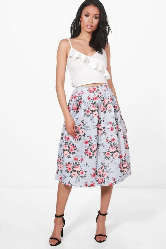 Phoebe Striped Floral Box Pleat Skater Skirt