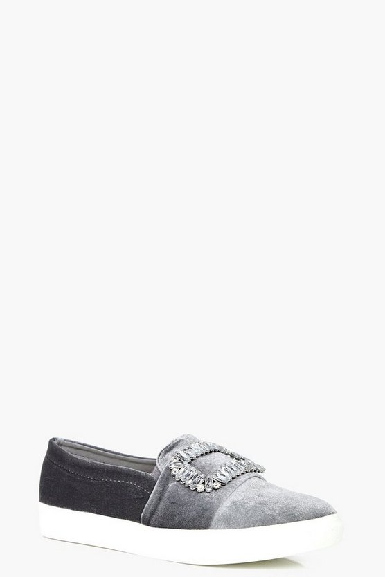 Anna Velvet Embellished Trim Skaters