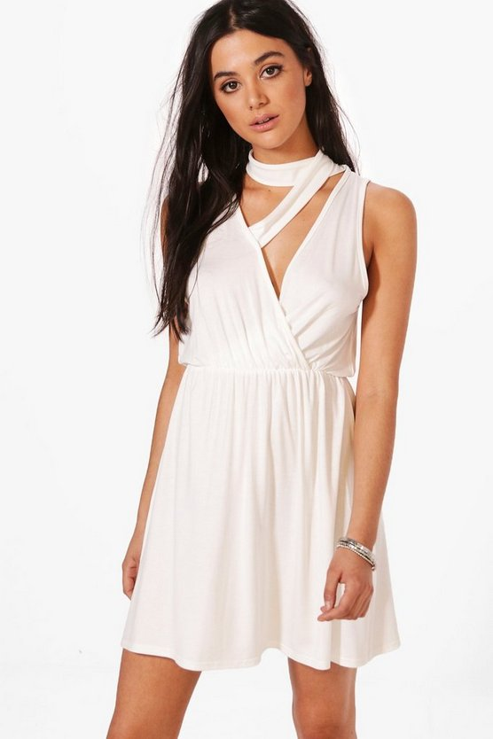 Talia Choker Detail Plung Skater Dress