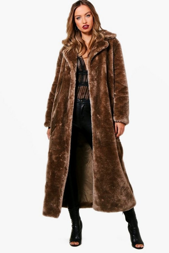 Stephanie Maxi Faux Fur Coat