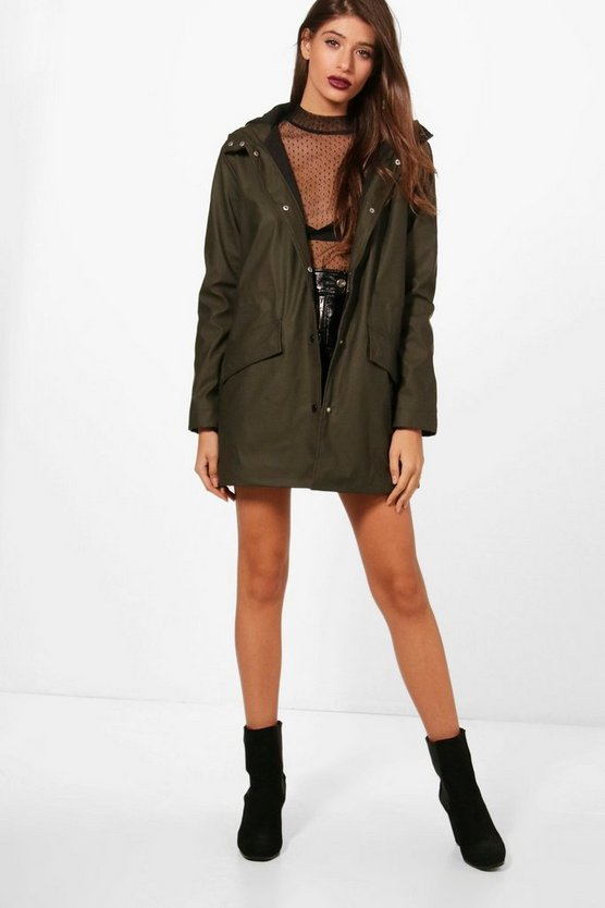 Danielle Long Length Rubberised Rain Mac
