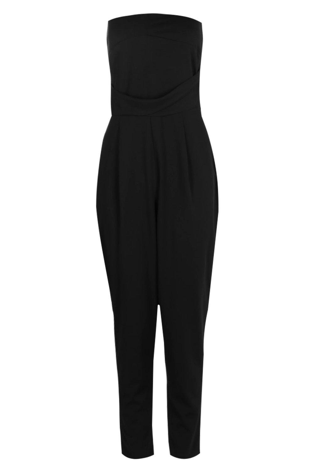 NEW-Boohoo-Womens-Marlin-Bandeau-Tailored-Woven-Slim-Fit-Jumpsuit-in