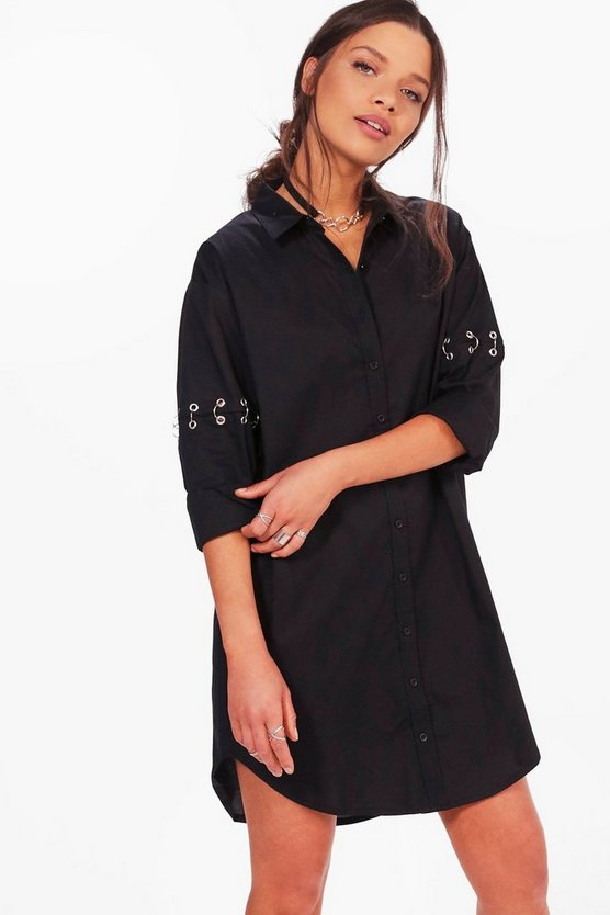 Caroline Eyelet Ring Sleeve Detail Shirt Dress
