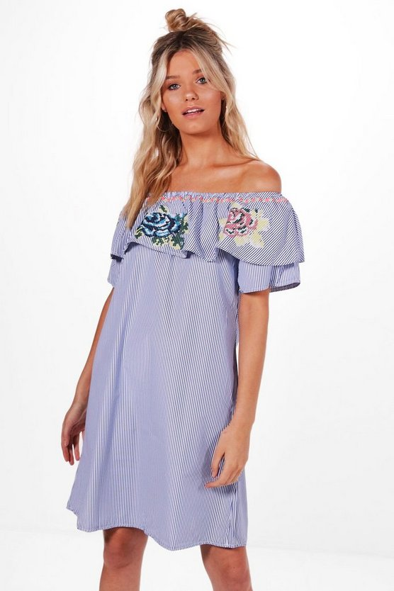 Natalie Embroidered Off Shoulder Shift Dress