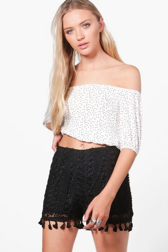 Marilyn Crochet Tassel Trim Shorts