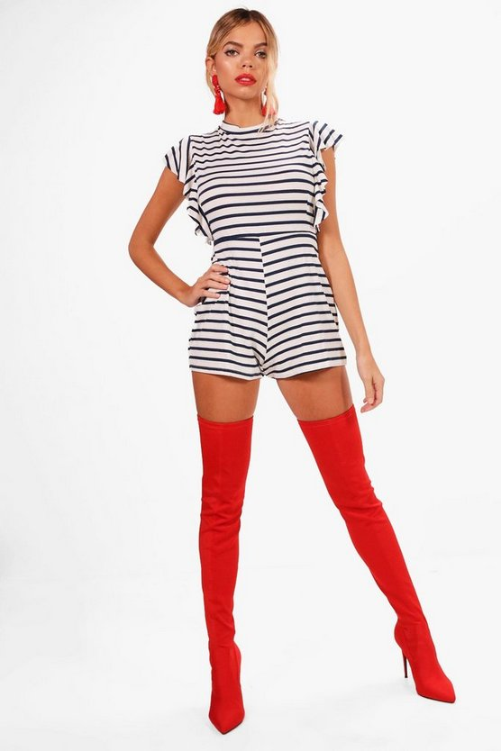 Anna Striped Frill Sleeve Playsuit
