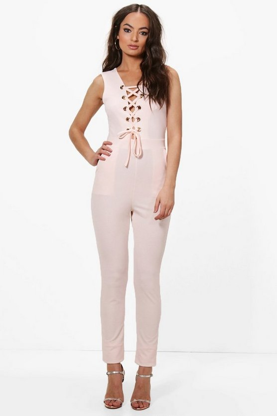 Goda Eyelet Detail Lace Up Jumpsuit