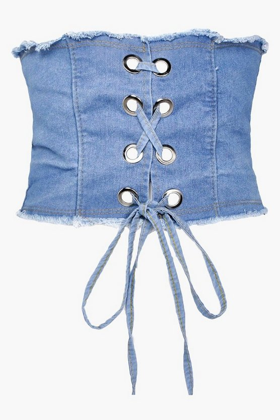 Lucy Lace Up Denim Corset Belt