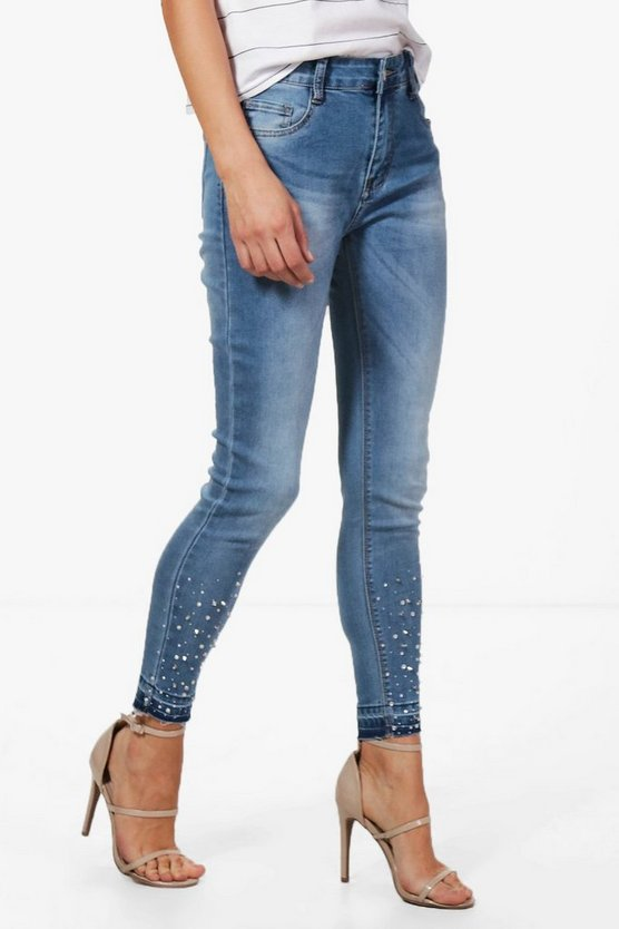Molly Mid Rise Jewel Embellished Skinny Jeans