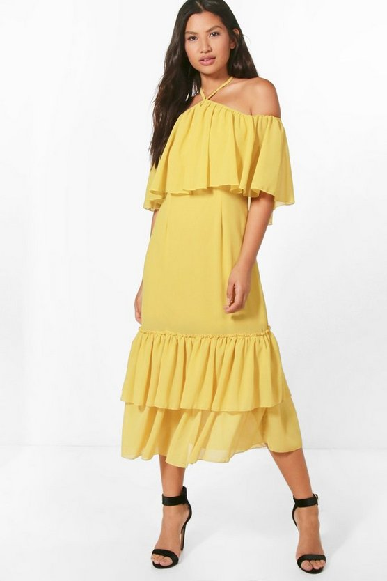 Grace Chiffon Frill Off Shoulder Midi Dress