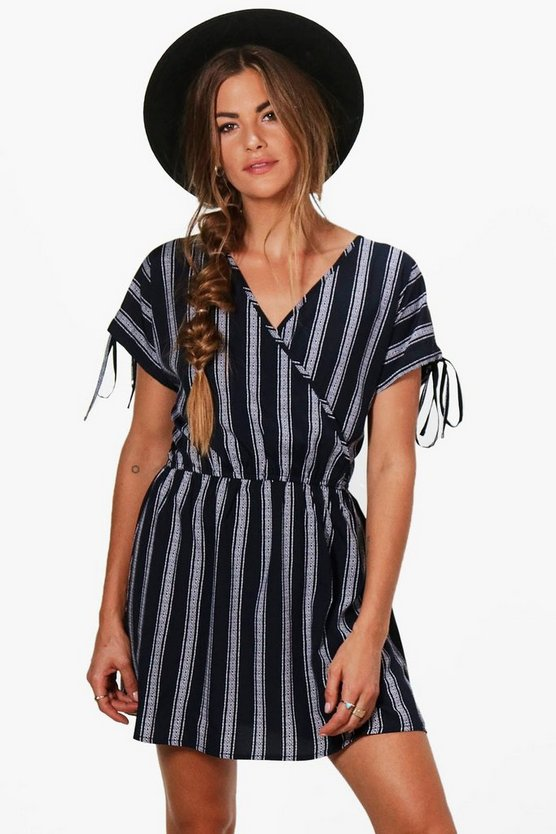 Shannon Stripe Wrap Tie Skater Dress