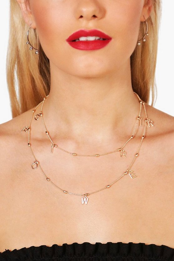 Mia Layered Girl Power Slogan Chain Choker