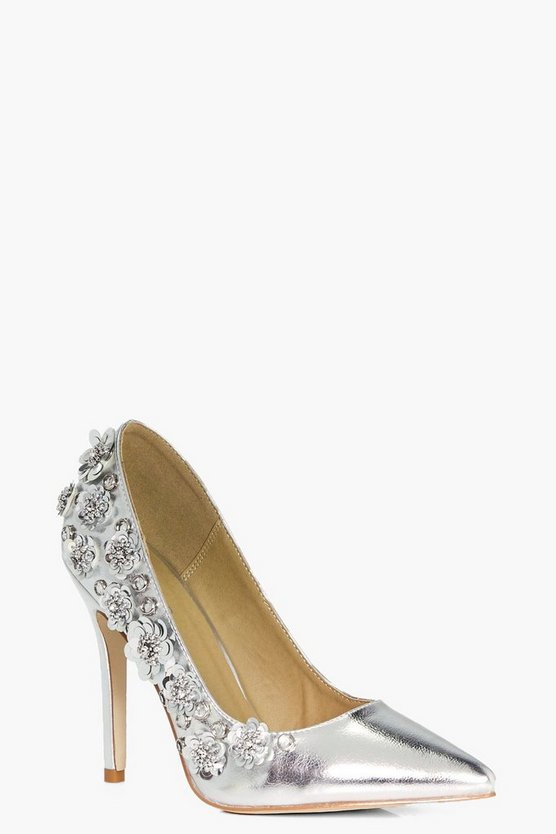 Maya Metallic Flower Embellished Court Shoe
