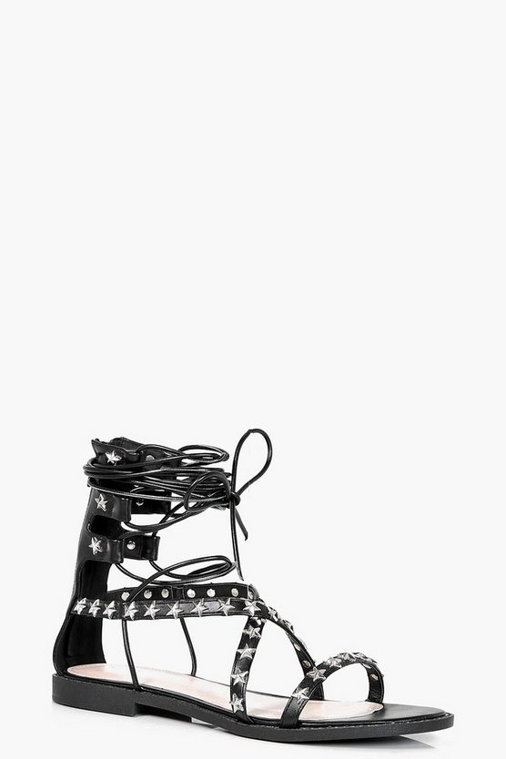 Skye Star Studded Wrap Up Sandal