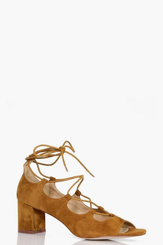 Lena Block Heel Lace Up Peep Toe