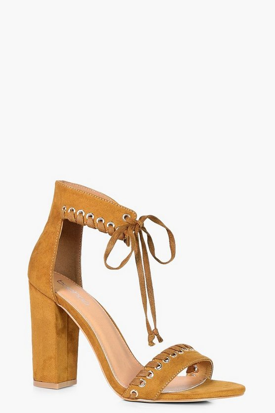 Neve Whipstitch Detail Ankle Wrap Heel