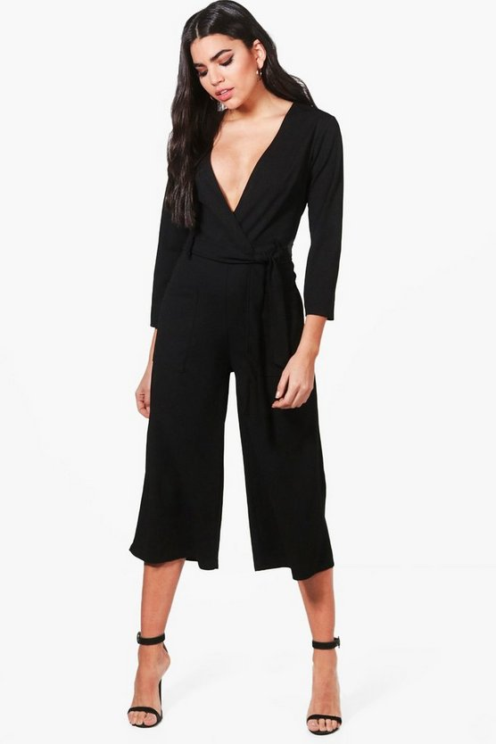 Structured Culotte Tie Back Jumpsuit