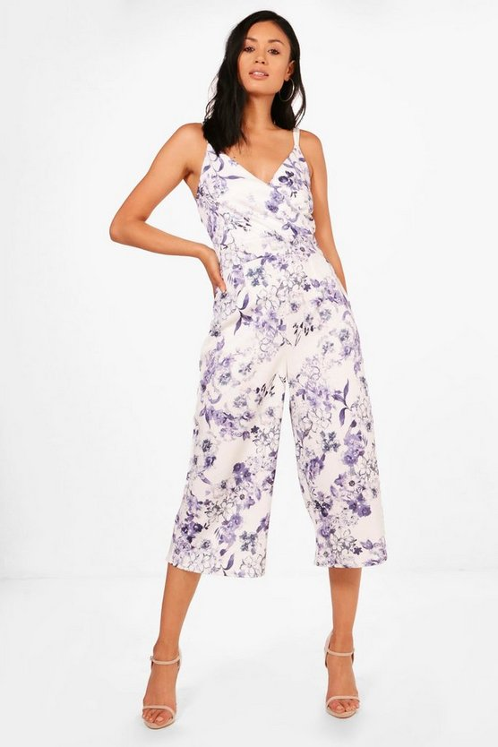 Sonia Wrap Over Bold Floral Culotte Jumpsuit