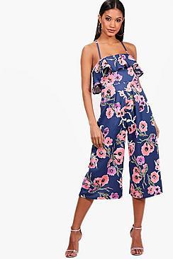 Zani Jumpsuit mit Blumen-Print, Volant und Hosenrock - Boohoo.com