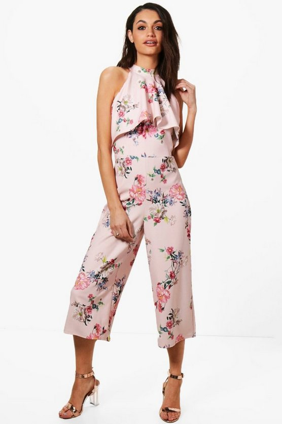 Claire Floral High Neck Culotte Jumpsuit