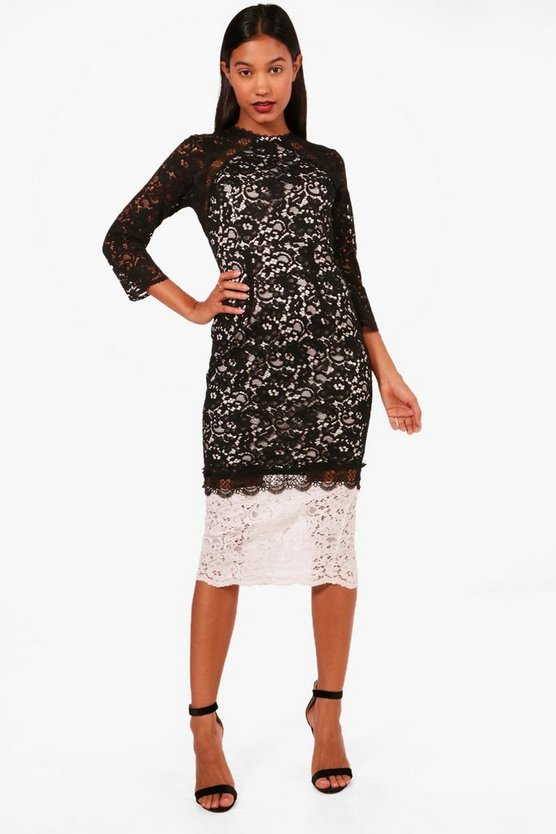Boutique Kiki Contrast Lace Midi Dress