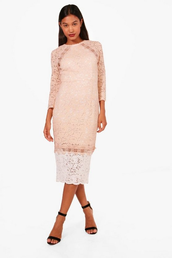 Boutique Contrast Lace Midi Dress