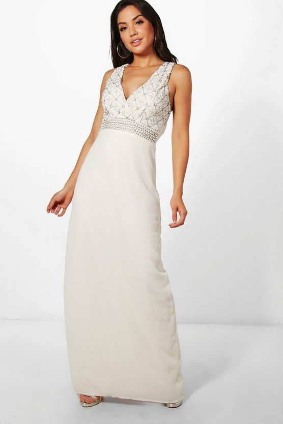 Boutique Cat Pearl Embellished Maxi Dress