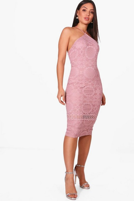 All Over Lace Strappy Midi Dress
