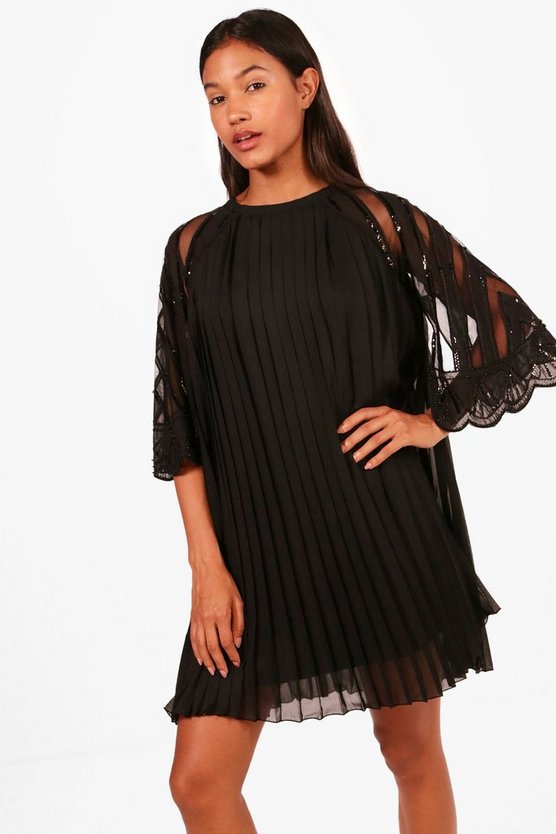 Boutique Gia Embellished Chiffon Shift Dress