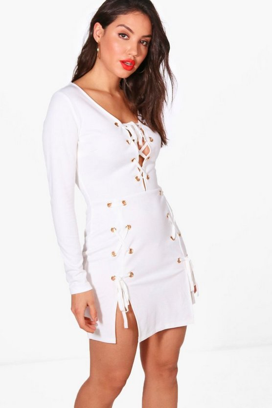 Beci Eyelet Lace Up Detail Bodycon Dress
