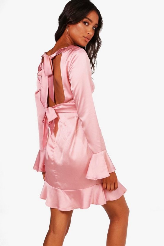 Serena Satin Open Back Skater Dress